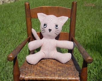 Love Vintage Custom Stuffed Kitty Cat - Stuffed Animal Cat - Plush Toy Cat - Plush Cat