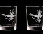 Personalized Fly Fishing Double Old Fashioned Glasses Set of 2 Father's Day