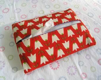 Handmade Tissue Holder Red with Tulips, Pocket Tissue Holder, Red Tulips Tissue Pouch, Travel Tissue Holder, Kleenex Pouch