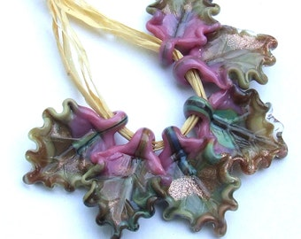 Lampwork Glass Leaves for Jewelry Making, Autumn Leaves Set of 6 leaf beads in warm shades in dusty Rose, Raku and Beigee, Made to Order