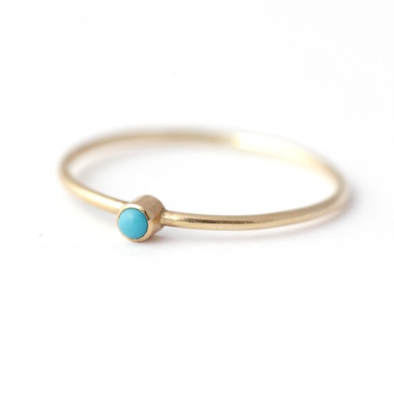 Thin Turquoise Ring, Gold Turquoise Ring, Thin Gold Ring, Stackable Birthstone Ring, December Birthstone Ring, Tiny Gemstone Ring