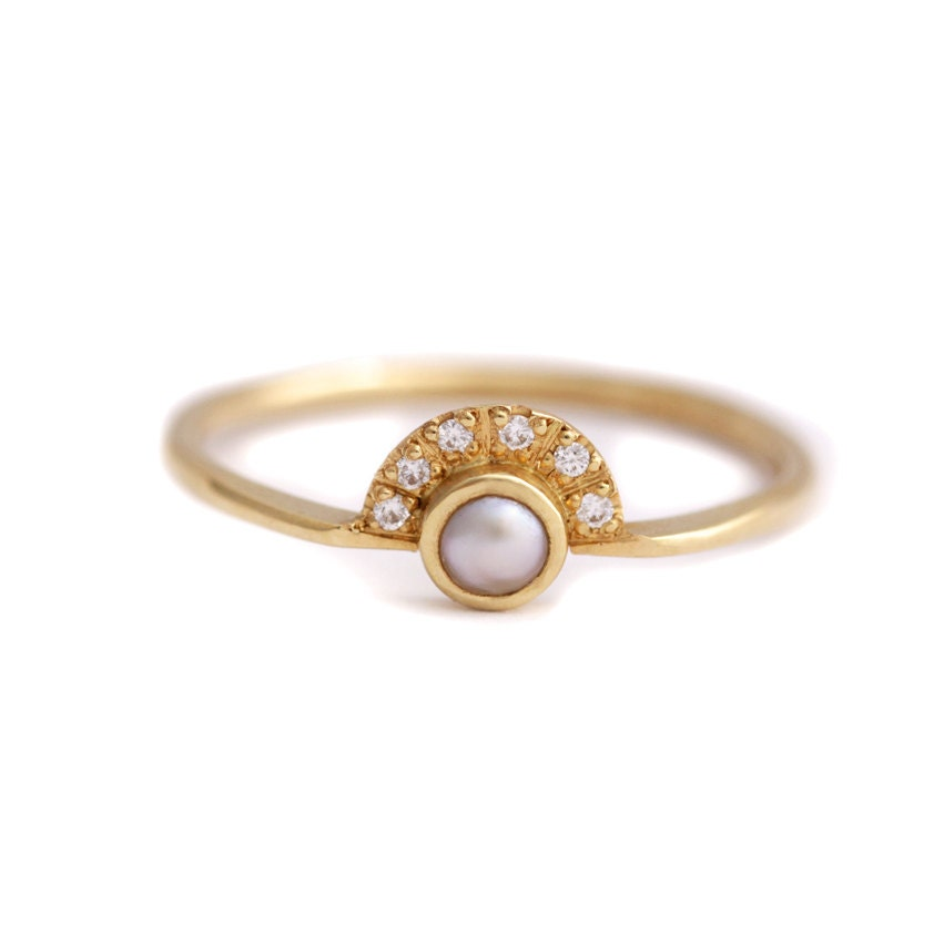Pearl Wedding Ring: Pearl Engagement Ring With A Pave Diamonds Crown 18k By