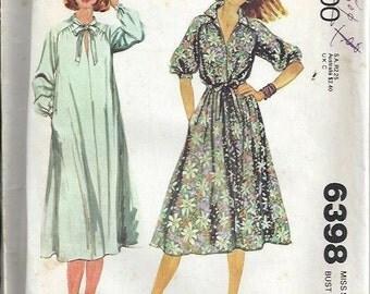 McCall's 6398 VTG 1970s Misses Pullover Dress Pattern, Size 12 UNCUT