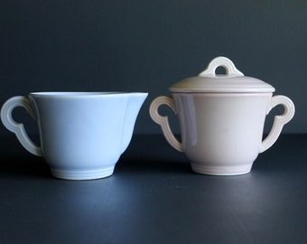 Vintage Creamer and Covered Sugar Bowl Set Mid Century Pink and Blue