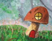 Faerie House - 10x10 Fine Art Giclee Print - Mushroom - Woodland - Green - Brown - Nature - Forest - Gnome - Painting - Whimsical- Childrens
