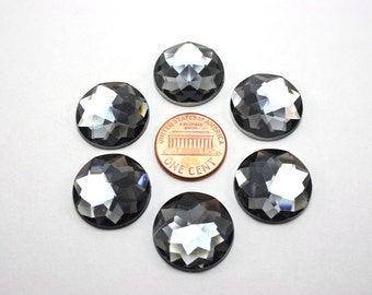 6 pcs Acrylic Faceted Rhinestone Cabochon - Smoke Grey Circle Round - 20mm diameter
