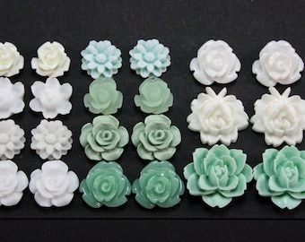 22 pcs Resin Flower Cabochons Assorted Sizes Sampler Pack - March Wind