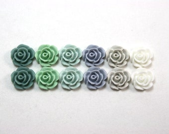 12 pcs Resin Flower Cabochons - 10mm Camellias - Frost and Ice - Matte Mix