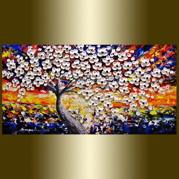 Original Abstract painting Contemporary oil painting white Blooming Tree landscape painting Heavy Palette Knife Texture
