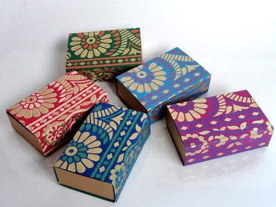 Wedding Gift Boxes From India : Saree border Match box,wedding favor box, Packaging box, Gift box -10 ...