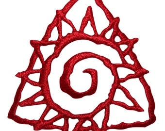 ID #8770 Red Triangle Spiral Sunny Sun Badge Embroidered Iron On Applique Patch