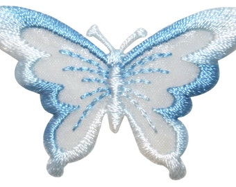 ID #2302B Blue Sheer Wing Butterfly Bug Embroidered Iron On Badge Applique Patch