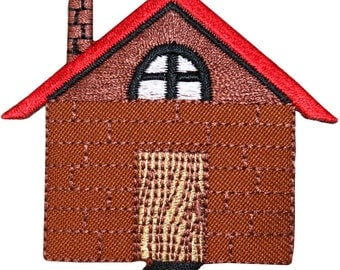 ID #3138 Brick House Home Lodging Building Embroidered Iron On Badge Applique Patch