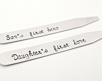 Son's First Hero Daughter's First Love Personalized Collar Stays - Custom Mens Daddy Hand Stamped Gift for Him - Dad Daddy Grandpa Travel
