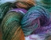 Handspun Yarn: 2 Ply in Gold, Purple and Green with Silk,  Blue Faced Leicester