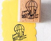 50% OFF SALE The Cat parachuted Rubber Stamp