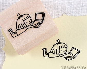 50% OFF SALE Computer and Girl Rubber Stamp