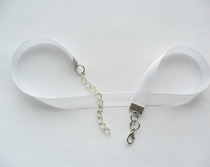 "White satin choker necklace with a width of 3/8""inch, pick your neck size."