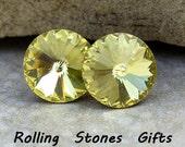 12mm Jonquil Swarovski Rivoli Rhinestone Stud Earrings-Jonquil Crystal Studs-Large Rivoli Studs-Large Crystal Stud Earrings