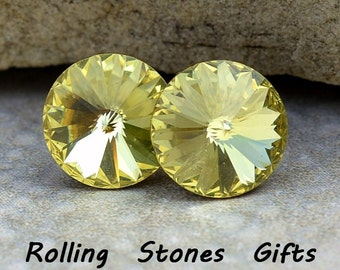12mm Jonquil Swarovski Rivoli Rhinestone Stud Earrings-Jonquil Crystal Studs-Large Rivoli Studs-Large Crystal Stud Earrings