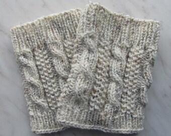 Knit Boot Cuff, Leg Warmers , Chunky Leg warmers Oatmeal Color , wellies boot cuff - raincity boot (19)