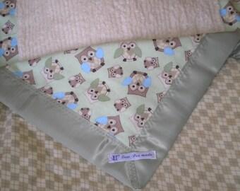 Argyle Owl Baby Boy Chenille Blanket