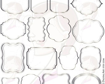 Silver Frame Clip Art Wedding Craft Scrapbook Supplies Clipart Digital Frames VECTOR Commercial Use DIY Label Tags Invitation Card 10375
