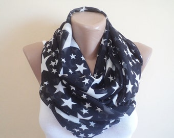 Spring scarf Stars Scarf Accessories Gift İdeas Black infinity Scarf Black Loop Scarf  Fashion scarf scarves star scarves For her  gift