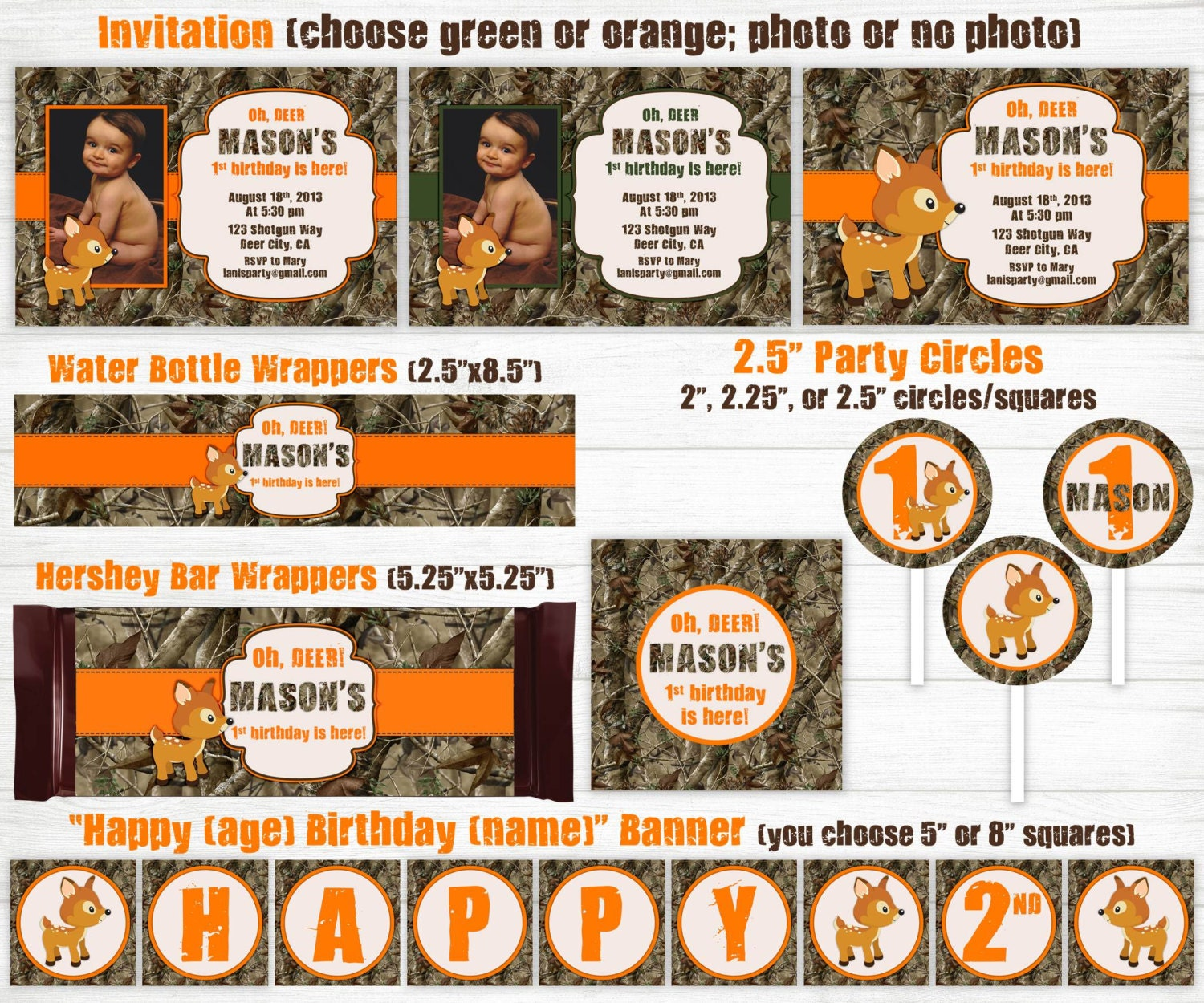 Camo Birthday Invitations Party Package Kit Hunting Oh Deer