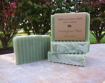 Eucalyptus Mint, Natural Handmade Soap, Cold Process Soap, Vegan