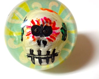 Skull Ring - Day Of The Dead - Sugar Skull - Halloween Ring - Halloween - Skull Jewelry - Snow Globe Ring - Skeleton