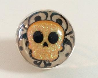 Skull Ring - Sugar Skull - Halloween Ring - Halloween Jewelry - Skull - Skull Jewelry - Handmade Ring