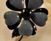 Vintage Enamel Black and Grey-Blue Flower - So Cute