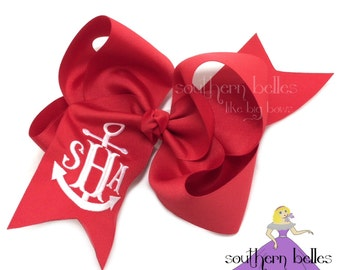 Jumbo Monogram Bow with Anchor, Personalized Gift for Girl, Anchor Monogrammed Bow, Jumbo Anchor Bow, Anchor Monogram Hair Bow, Nautical Bow