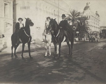 Riding By the Sea - Vintage 1920s Equestrians on Horseback Real Photo Postcard