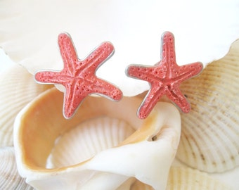 Sea Star Studs Earrings, Сoral Starfish Earrings, Hawaiian Jewelry, Sea Beach Сoral