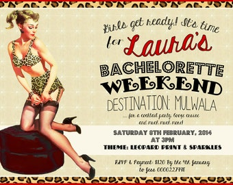 Vintage Pin Up Girl Invitation-leopard print Bachelorette weekend, Hens night, Lingerie Shower Birthday invite diy print file PRINT YOUR OWN