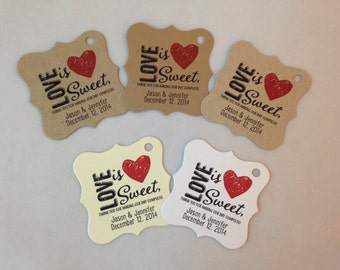 Wedding Gift Tags -  Love Is Sweet - Wedding Favor Tags - Customizable Personalized (WT1419)