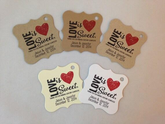 Wedding Gift Tags - Love Is Sweet - Wedding Favor Tags - Customizable ...