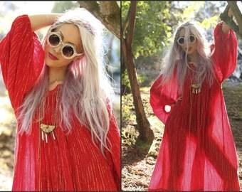 Vintage 70s gauze grecian hippie boho peasant dress billow sleeve XS S M L