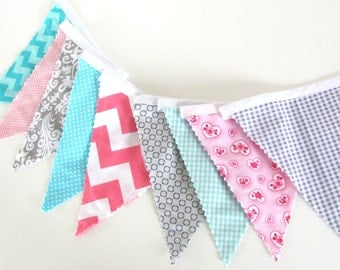 Pennant Bunting Banner, Baby Girl's Nursery Decor, Photo Prop, Fabric Flags, Baby Shower - Grey, Pink Aqua Chevron Flags, Damask, Hearts