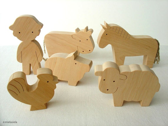 Farm Animal Set - Waldorf wooden toys - Farm animals and boy - Toy farm animals set