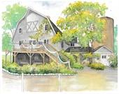 Painting of Wedding Venue -  Custom watercolor portrait of wedding location - Wedding gift - Anniversary gift