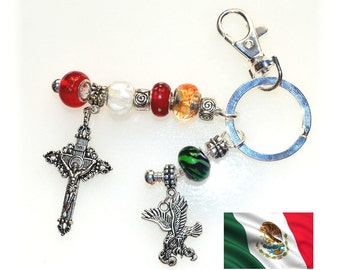 Mexican Pride Beaded Key Ring