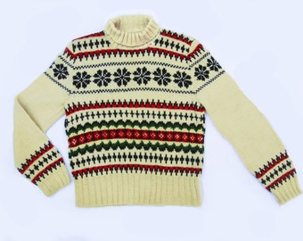 Vintage Fairisle Ladies Turtleneck Sweater