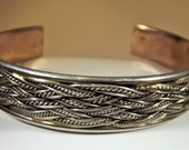Cuff Sterling Silver Vintage Intricate Braidwork Hand Finished Hallmarked Big Bold Heavy Silver Exotic Boho Runway 27 Plus Grams of Silver