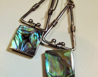 Earrings Sterling Silver Vintage Abalone Triangle Square Geometric Hallmarked Wire Wrap Unique Exotic Boho Shimmering organic Shell Inlay