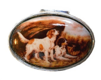 Vintage Country French English Edwardian Dog Enamel Sterling Silver Pill Snuff Box Case Sepia Art Nouveau Victorian Jewelry Trinket Box