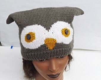 Beautiful Handknitted Owl Hat, Owl Hat in Brown, UK Seller