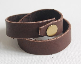 Chocolate 2-row Leather Wrap Bracelet - Handmade Leather Bracelet